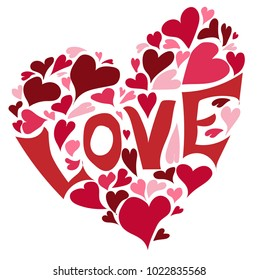 Love with hearts.Love shape vector illustration.Valentine's day  concept.