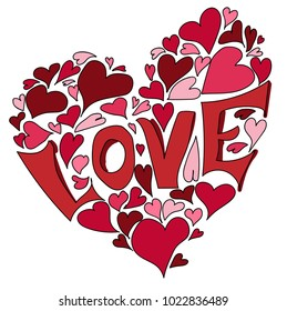 Love with hearts.Love shape vector illustration.Valentine's day and holidays concept.