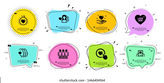 Love her, Friendship and Friends couple line icons set. Chat bubbles with quotes. Like button, Love mail and Hold heart signs. Sweetheart, Trust friends. Love set. Banner badges vector shapes. Vector