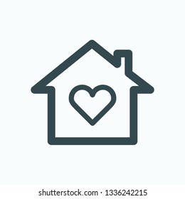 Love home isolated icon, sweet home linear vector icon