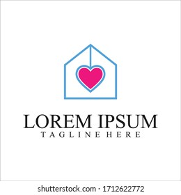 Love Home Logo Design. Stay at Home. House with Love Shape Within, House with Heart symbol illustration isolated on white background.