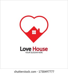 Love Home Logo. Heart and House Icon Combination. Health and Care Symbol. Flat Vector Logo Design Template