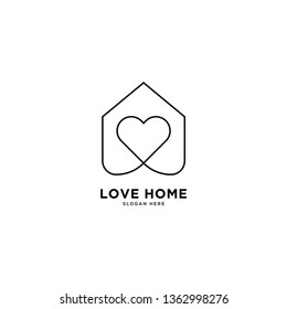 Love Home logo simple line logo template vector illustration - Vector
