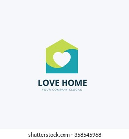 Love home logo template, Real Estate Brand Identity.