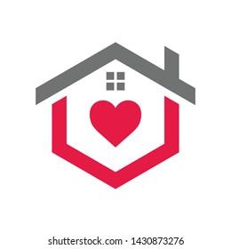Love home logo template, vector