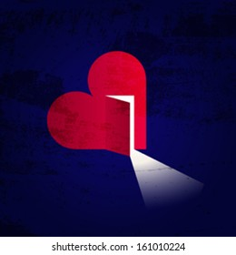 Love and hope. Creative illustration of a heart with open door and light inside