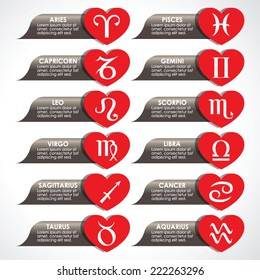 Love horoscope signs, vector buttons illustration with heart