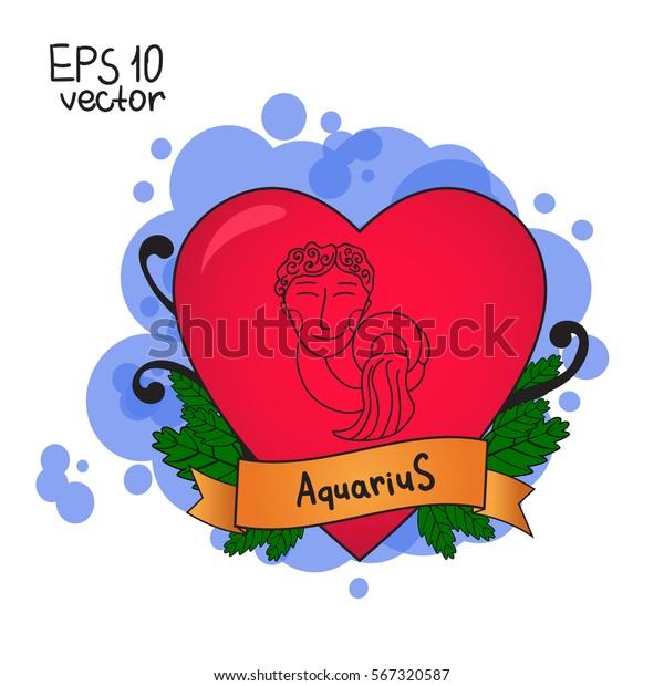 Love Horoscope Valentines Day Signs Zodiac Stock Vector (Royalty