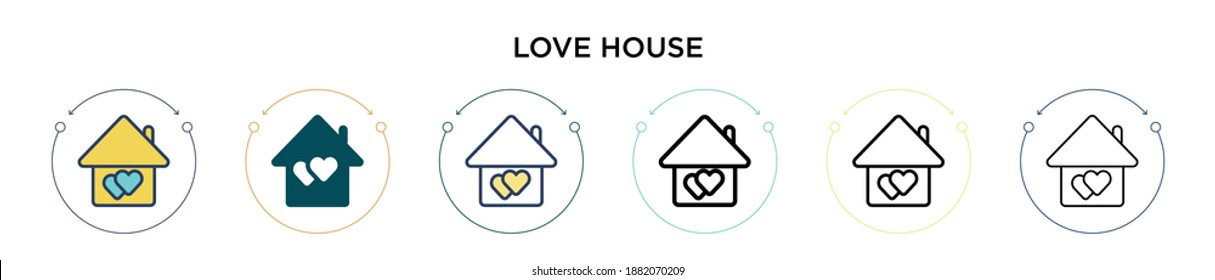 Love house icon in filled, thin line, outline and stroke style. Vector illustration of two colored and black love house vector icons designs can be used for mobile, ui, web