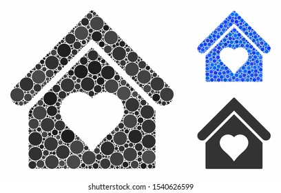 Love house mosaic of round dots in different sizes and color tones, based on love house icon. Vector round elements are composed into blue mosaic. Dotted love house icon in usual and blue versions.