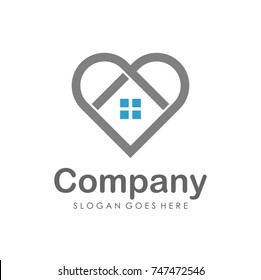 Love house and real estate logo design template