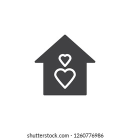 Love house vector icon. filled flat sign for mobile concept and web design. Home with hearts simple solid icon. Symbol, logo illustration. Pixel perfect vector graphics