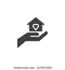 Love house vector icon. filled flat sign for mobile concept and web design. Hand hold home with heart simple solid icon. Symbol, logo illustration. Pixel perfect vector graphics