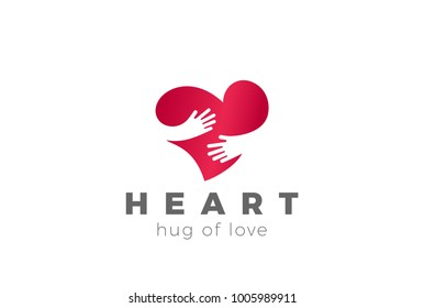 Love Hug Heart Logo design vector template. Valentines Day Embrace symbol concept icon.