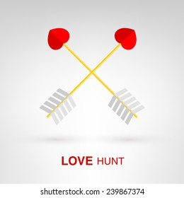 Love Hunt - creative Valentines Day heart-shaped arrows concept