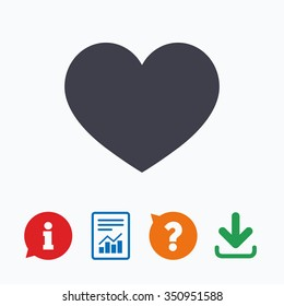 Love icon. Heart sign symbol. Information think bubble, question mark, download and report.