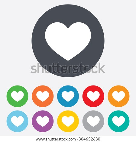 Love Icon Heart Sign Symbol Round Stock Vector Royalty Free