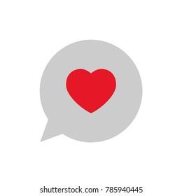 Love icon, heart in speech bubble