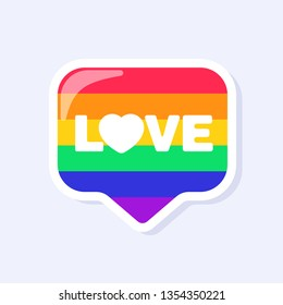 Love Icon. LGBTQ+ related symbol in rainbow colors. Gay Pride. Raibow Community Pride Month. Love, Freedom, Support, Peace Symbol. Flat Vector Design Isolated on White Background