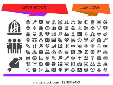 love icon set. 120 filled love icons. Simple modern icons about  - Dove, Heart, Friends, Pray, Lollipop, Followers, Solidarity, Magician, Rainbow, Ring, Jesus, Church, Bird house