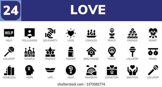 love icon set. 24 filled love icons.  Simple modern icons about  - Help, Followers, Solidarity, Love, Candles, Peace, Friends, Heart, Lollipop, Church, Feeder, Bird house, Rings