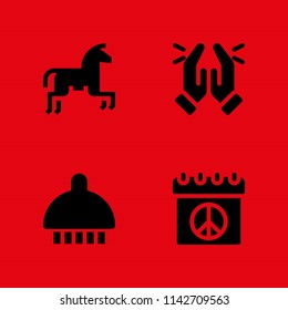 love icon set. horseriding, peace and shower vector icon for graphic design and web