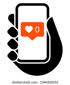 love icon. Vector icon of mobile phone in hand with no likes social media notification