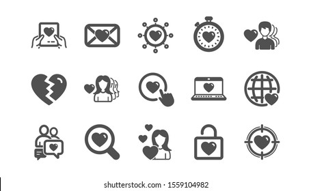 Love icons. Heart, Valentines day and Relationships. Romantic classic icon set. Quality set. Vector