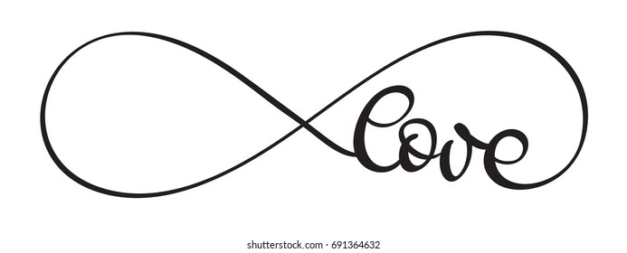 Love infinity word on white background. Hand drawn Calligraphy lettering Vector illustration EPS10