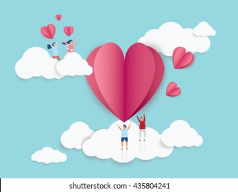love Invitation card Valentine's day abstract background with young joyful,clouds and paper cut  pink heart. Vector illustration.