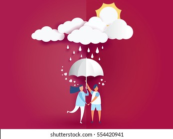 love Invitation card Valentine's day and young joyful couple holding umbrella on abstract background with raining and clouds,sun,paper craft style .Vector illustration.