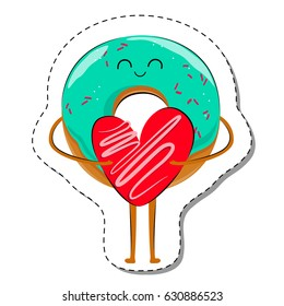Love Is... Donut In Love Sticker. Cute Cartoon Food emoticon with heart Vector illustration
