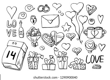 LOVE. Isolated black and white objects on a white background. Valentine's Day