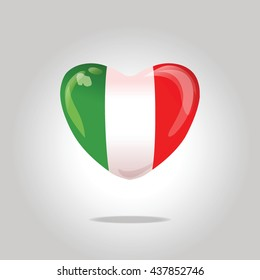 Love Italy. Flag heart.
