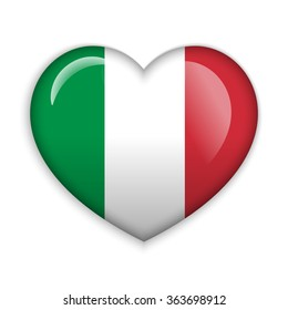 Love Italy.  Flag Heart Glossy Button