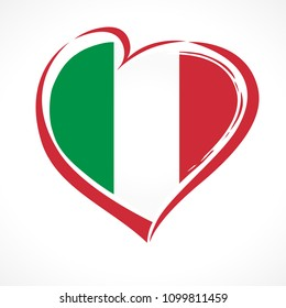 Love Italy, heart emblem national flag colored. Flag of Italy with heart shape for Italian Republic Day isolated on white background. Vector illustration
