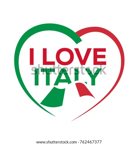 Love Italy Outline Heart Italian Flag Stock Vector Royalty Free