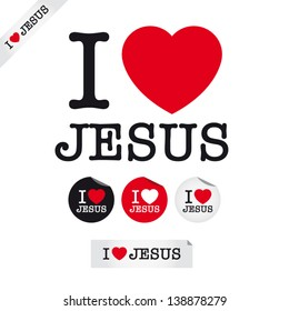 i love Jesus, font type with signs, stickers and tags