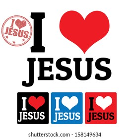 I love Jesus sign and labels on white background, vector illustration