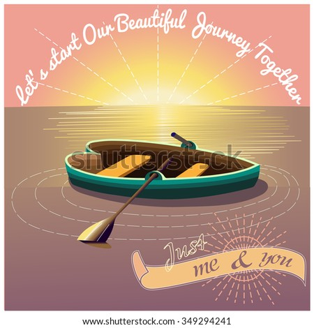Love Journey Morning Presentation Card Sun Stock Vector Royalty