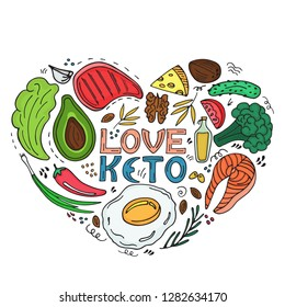 Love Keto - hand drawn inscription. Ketogenic diet heart shaped banner in doodle style. Low carb dieting Paleo nutrition, meal protein and fat