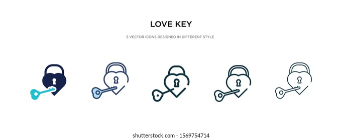 love key icon in different style vector illustration. two colored and black love key vector icons designed in filled, outline, line and stroke style can be used for web, mobile, ui