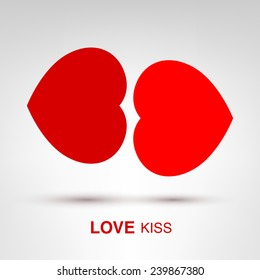 Love Kiss - creative Valentines Day heart lips concept vector illustration