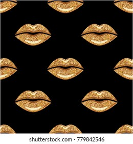 Love Kiss print. Golden Lips texture. Woman Mouth. Lips seamless pattern. Vector repeating wallpaper.