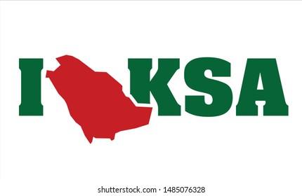 I love KSA logotype with map of Kingdom of Saudi Arabia. KSA. Vector illustration. Icon and Symbol.