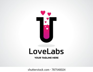 Love Labs Logo Template Design Vector, Emblem, Design Concept, Creative Symbol, Icon