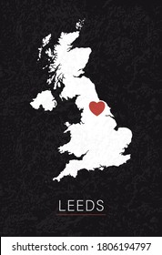 Love Leeds Picture. Map of United Kingdom with Heart as City Point. Vector Stock Illustration