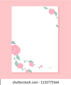 Love letter, Blank template with Rose flower pattern background. Useful for wedding invitation, save the date card, letterhead, romantic letter for her, love note. Beautiful vector design a4 format