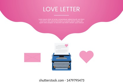love letter concept template with love icon and pink color theme for template banner or landing infographics - vector