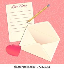 Love letter, envelope and heart sticker, eps10